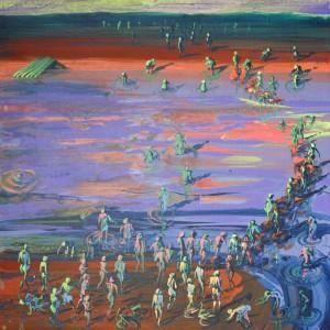 Brod, akryl na plátně,67X67, 2015